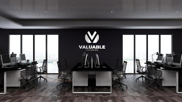 Modello di logo a parete 3d nell'area di lavoro dell'ufficio o sul posto di lavoro