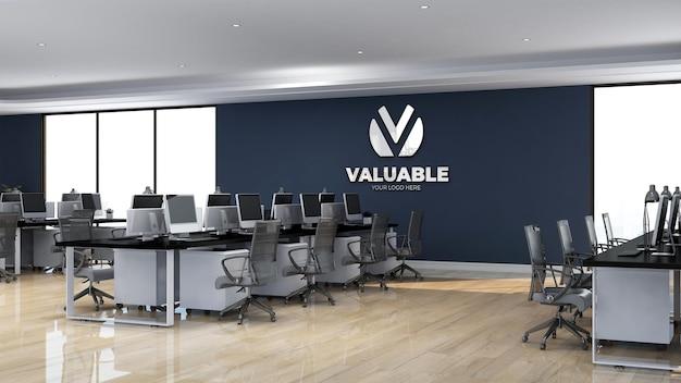Area di lavoro dell'ufficio del segno realistico del mockup del logo della parete 3d