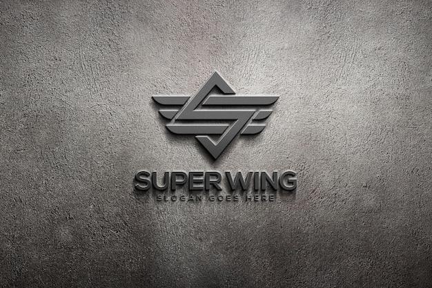 Modello di mockup del logo della parete 3d