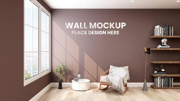 Mockup di parete 3d in soggiorno