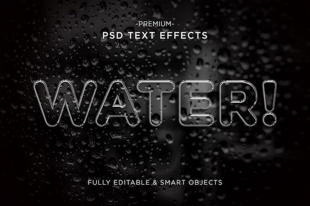 Modello di effetto testo in stile acqua 3d psd premium
