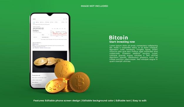 Mockup di web design 3d di criptovaluta