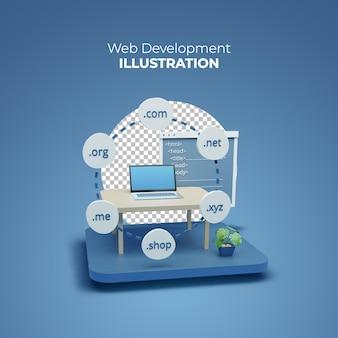 Sviluppo e progettazione web 3d su laptop ed estensione di dominio mobile