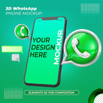 Icone 3d di whatsapp e rendering del telefono