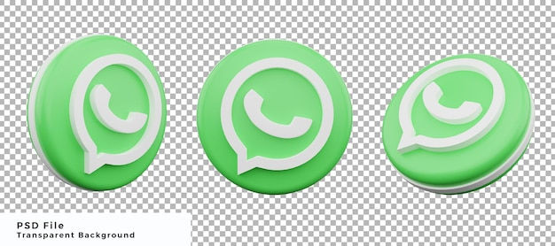 Pacchetto di progettazione elemento icona logo whatsapp 3d con varie angolazioni di alta qualità