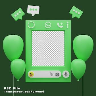 Asset del modello di mockup di whatsapp 3d con l'illustrazione dell'icona di palloncini di alta qualità
