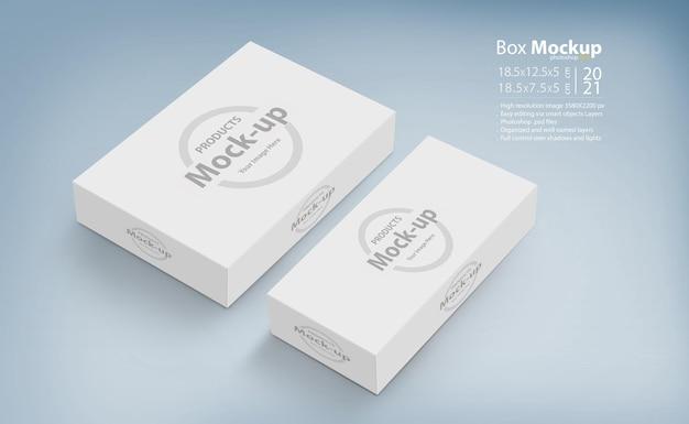 Rendering di progettazione mockup di scatole bianche 3d