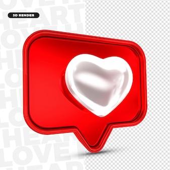 Reazione di instagram cuore bianco 3d isolata per composizione psd premium
