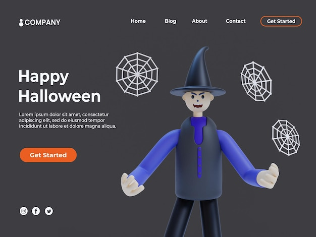 Illustrazione della strega 3d con la faccia arrabbiata per l'evento di halloween e la pagina di destinazione
