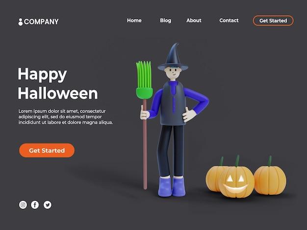 Illustrazione della strega 3d con la zucca per l'evento di halloween e la pagina di destinazione