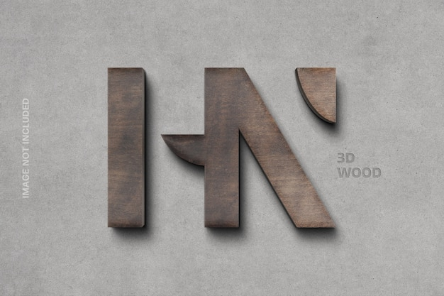 Mockup di segno logo in legno 3d