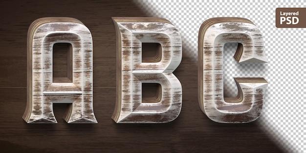 Set di caratteri in legno 3d. lettere abc