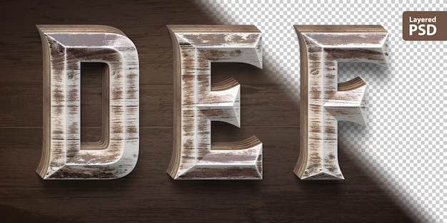 Set di caratteri in legno 3d. lettere def