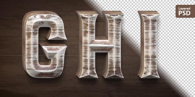 Set di caratteri in legno 3d. lettere ghi