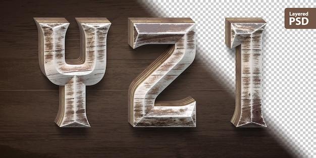 Set di caratteri in legno 3d. lettere yz 1.