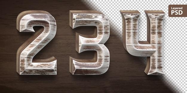Set di caratteri in legno 3d. numeri 2 3 4.
