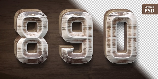 Set di caratteri in legno 3d. numeri 8 9 0.