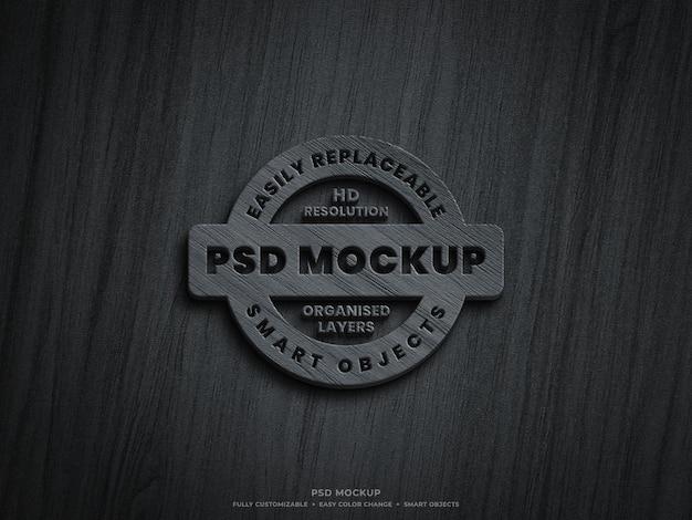 Logo in legno 3d mockup design Psd Premium