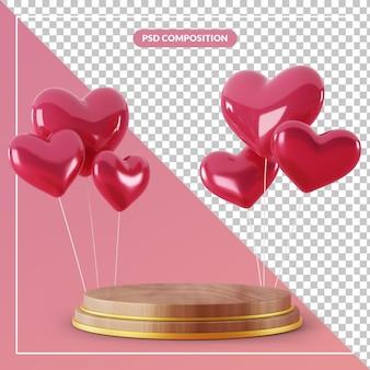 Piedistallo in legno 3d con mazzo di palloncini cuore amore