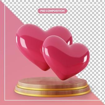 Piedistallo in legno 3d con coppia di simbolo del cuore di amore