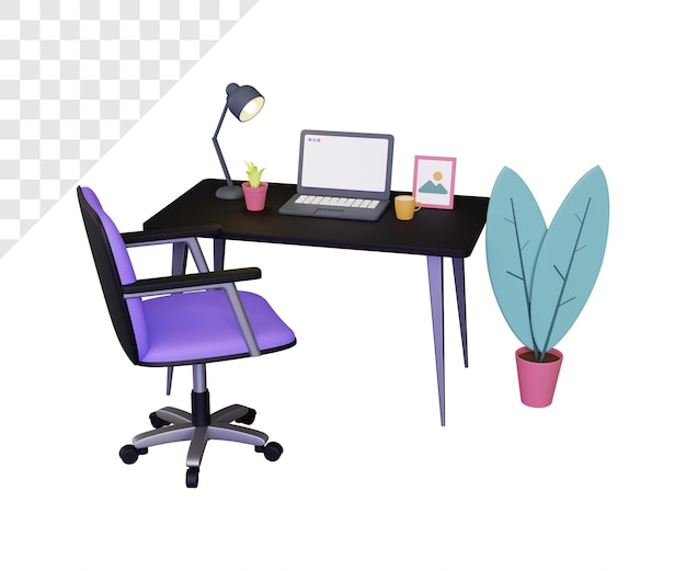 Illustrazione 3d del banco da lavoro