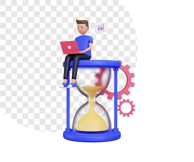 Orario di lavoro 3d con un uomo seduto sulla clessidra