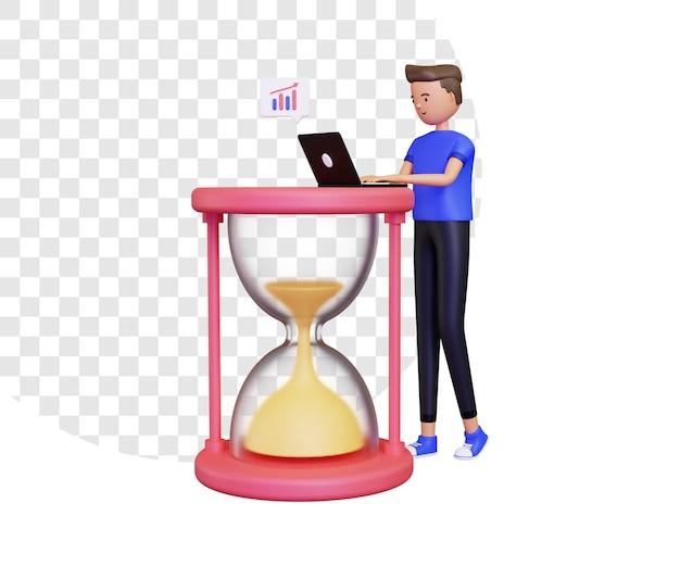 Orario di lavoro 3d con un uomo che lavora su un laptop accanto a una clessidra
