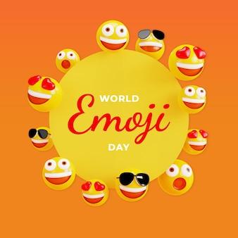 Celebrazione della giornata mondiale delle emoji in 3d