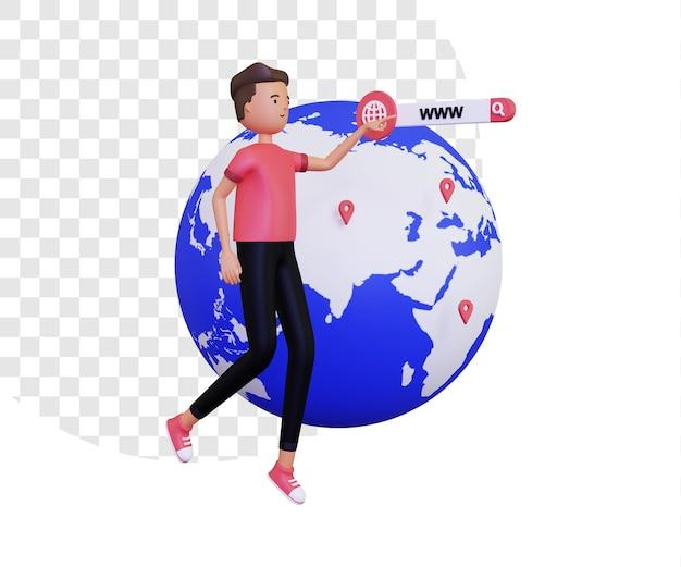 3d world wide web o www con l'uomo fluttuante e il pianeta terra