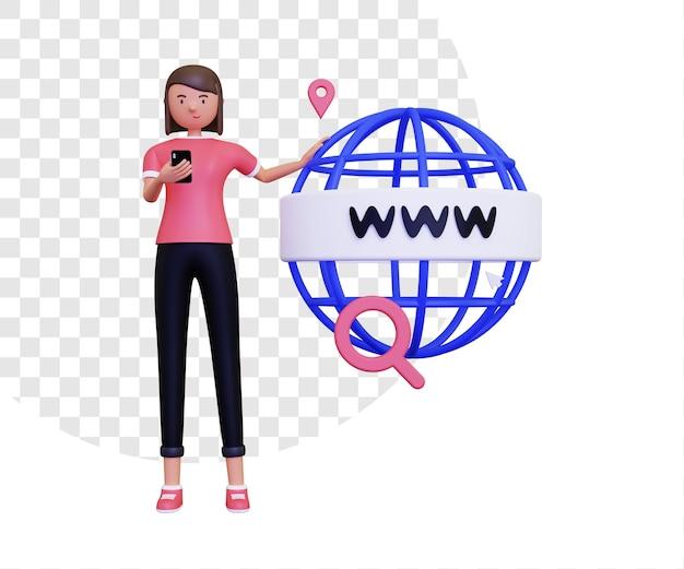 3d world wide web o www con una donna che suona un telefono cellulare
