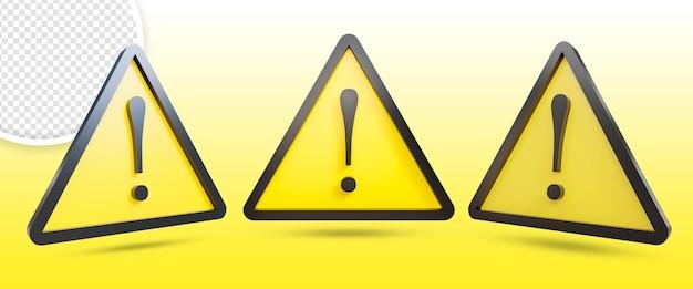 Icona del segnale di pericolo del triangolo giallo 3d isolata