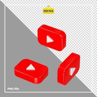 Icona youtube 3d su tutti i lati