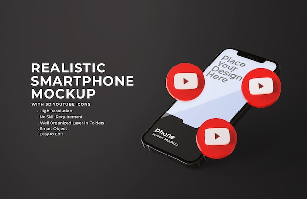 Icone di youtube 3d con mockup di schermo mobile