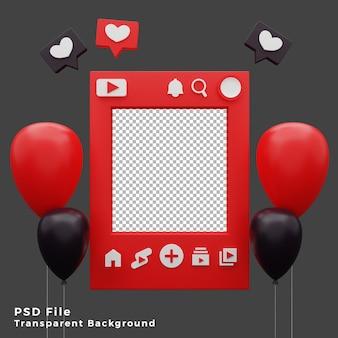 Modello di modello di mockup di youtube 3d con illustrazione dell'icona di palloncini di alta qualità