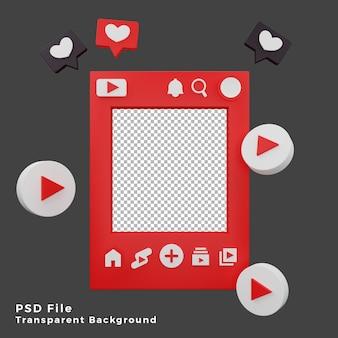 Modello di modello di mockup di youtube 3d con illustrazione dell'icona del logo di alta qualità