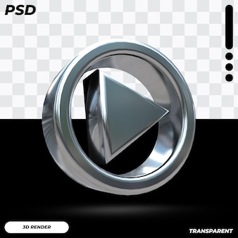 Logo musicale di youtube 3d con colore metallico