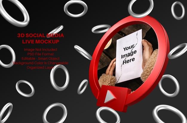 Mockup di streaming live di social media di youtube 3d con anelli volanti