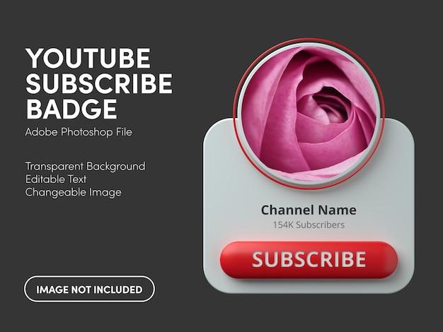 Badge di iscrizione a youtube 3d
