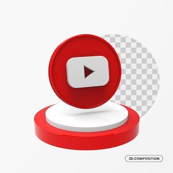Pulsante di iscrizione youtube 3d con podio