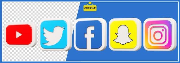 3d youtube, twitter, facebook, snapchat, instagram design