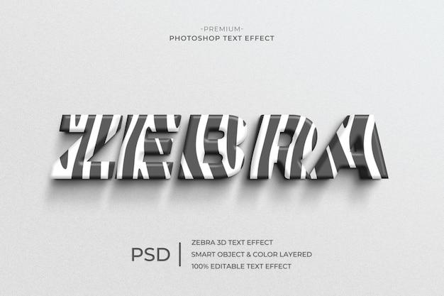 Modello di effetto stile testo zebra 3d