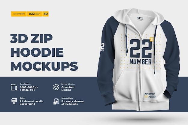 Mockup di felpa con cappuccio con zip 3d. il design è facile nella personalizzazione delle immagini felpa con cappuccio (torso, cappuccio, manica, tasca), colore di tutti gli elementi felpa con cappuccio, trama erica