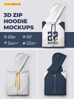 Mockup di felpa con cappuccio con zip 3d. il design è facile nella personalizzazione delle immagini design felpa con cappuccio (torso, cappuccio, manica, tasca, etichetta), colore di tutti gli elementi felpa con cappuccio, trama erica.