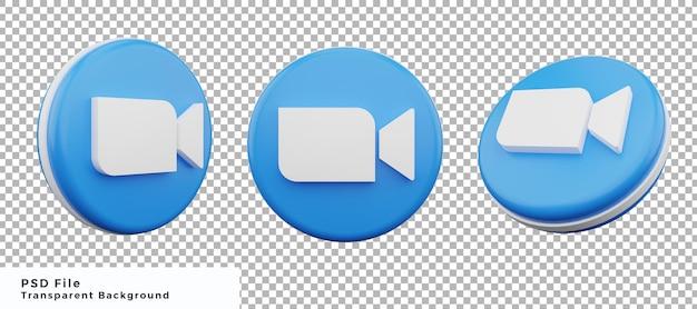 Pacchetto di progettazione dell'elemento dell'icona del logo dello zoom 3d con varie angolazioni di alta qualità