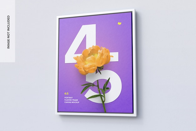4: 5 mockup di fotogramma verticale nella vista destra