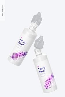 Mockup di bottiglie di vernice in tessuto da 4 once, caduta
