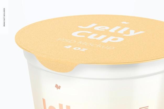 4 oz jelly cup mockup, primo piano