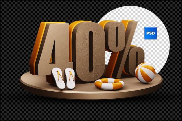 Distintivo di sconto di vendita di estate 3d del 40% isolato