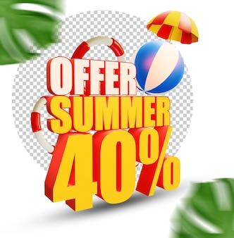 40 per cento estate offerta stile di testo 3d isolato