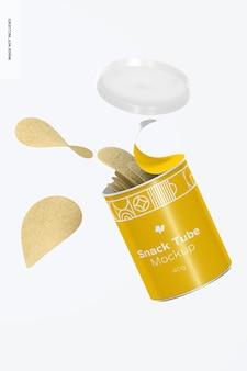 Mockup di tubo per snack da 40 g, caduta